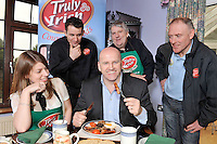 Sean Gallagher samples the proof of the pudding with  from left, Laura Edmonds, James Taylor, Sales Manager,  Michael McAulliffe CEO and Declan Murphy of Truly Irish in Castleisland, County Kerry..Picture by Don MacMonagle