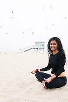 Portrait of Yoga instructor Samantha Mehra.  Venice Beach, Santa Monica, Los Angeles California US