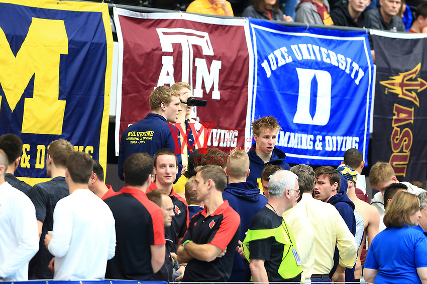 The University of Michigan men's swimming and diving team compete at the 2017 NCAA National Swimming and Diving Championships in Indianapolis, IN. March 23, 2017<br /> (Photo by Walt Middleton Photography 2017)