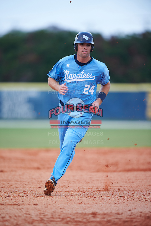 SCF Manatees Ryan Karstetter (24) running the bases during a game against the College of Central Florida Patriots on February 8, 2017 at Robert C. Wynn Field in Bradenton, Florida.  SCF defeated Central Florida 6-5 in eleven innings.  (Mike Janes/Four Seam Images)