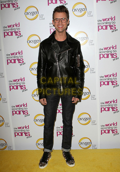 "BRAD GORESKI .""The World According To Paris"" Series Premiere Party  Held At The Roosevelt Hotel, Hollywood, California, USA, .17th May 2011..full length leather jacket jeans glasses  studded trainers silver studs black .CAP/ADM/KB.©Kevan Brooks/AdMedia/Capital Pictures."