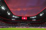23.05.2020, Allianz Arena, München, GER, 1.FBL, FC Bayern München vs Eintracht Frankfurt 23.05.2020 , <br /><br />Nur für journalistische Zwecke!<br /><br />Gemäß den Vorgaben der DFL Deutsche Fußball Liga ist es untersagt, in dem Stadion und/oder vom Spiel angefertigte Fotoaufnahmen in Form von Sequenzbildern und/oder videoähnlichen Fotostrecken zu verwerten bzw. verwerten zu lassen. <br /><br />Only for editorial use! <br /><br />DFL regulations prohibit any use of photographs as image sequences and/or quasi-video..<br />im Bild<br />Sonnenuntergang ueber der Allianz Arena innen mit Anzeige <br /> Foto: Peter Schatz/Pool/Bratic/nordphoto