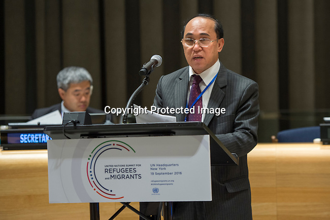 General Assembly Seventy-first session High-level plenary meeting on addressing large movements of refugees and migrants.<br /> <br /> <br /> Kambodia