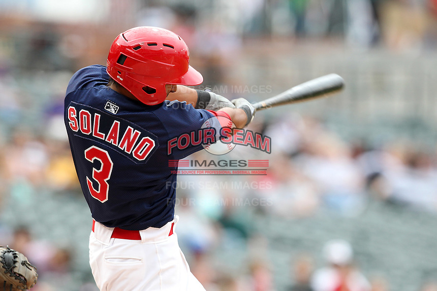 Memphis Redbirds outfielder Donovan Solano #3 at bat during a game versus the Round Rock Express at Autozone Park on April 30, 2011 in Memphis, Tennessee.  Memphis defeated Round Rock by the score of 10-7.  Photo By Mike Janes/Four Seam Images