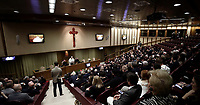 Papa Francesco tiene un'nUdienza ai Participanti all'Assemblea Generale della Pontifical Academia per la Vita nella'aulanuova del Sinodo in Vatican. 5 ottobre 2017.<br /> Pope Francis gives an audience to the participants at the General Assembly of the Pontifical Academy for Life in the Synod hall at the Vatican, on October 5, 2017.<br /> UPDATE IMAGES PRESS/Isabella Bonotto<br /> <br /> STRICTLY ONLY FOR EDITORIAL USE