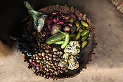 A basket of vegetables seen at Asha's house in Saptari, Nepal.