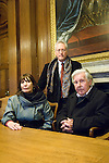 Diarmaid MacCulloch (standing), Henrietta Garnett and Ronald Blythe in the Delegates Room at the Bodleian Library during the Sunday Times Oxford Literary Festival, UK, 16 - 24 March 2013. <br />