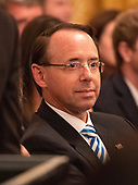 Assistant Attorney General Rod Rosenstein attends the ceremony where United States President Donald J. Trump hosts a ceremonial swearing-in ceremony for Associate Justice of the US Supreme Court Brett Kavanaugh in the East Room of the White House in Washington, DC on Monday, October 8, 2018.  Kavanaugh formally took the oath on Saturday, hours after he was confirmed by the US Senate.  <br /> Credit: Ron Sachs / CNP<br /> (RESTRICTION: NO New York or New Jersey Newspapers or newspapers within a 75 mile radius of New York City)