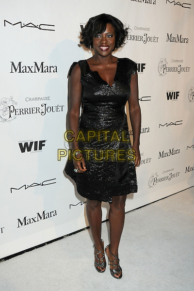 VIOLA DAVIS .3rd Annual Women In Film Pre-Oscar Party held at a Private Residence in Beverly Hills, California, USA, .4th March 2010..full length black dress shiny sparkly  silver sandals open toe cut out strappy .CAP/ADM/BP.©Byron Purvis/AdMedia/Capital Pictures.