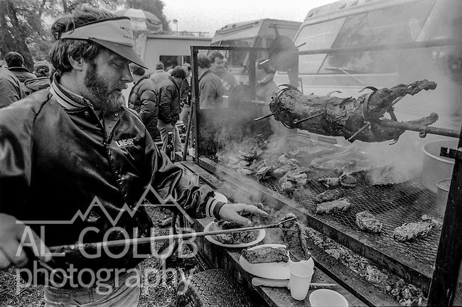 Barbecue in action at the Super Bowl XIX tailgate on the Stanford University campus. The San Francisco 49ers defeated the Miami Dolphins 38-16 on Sunday, January 20, 1985.