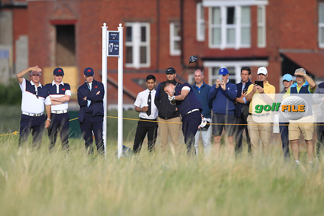 Conor Gough (GB&I) on the 17th tee during Day 2 Singles at the Walker Cup, Royal Liverpool Golf CLub, Hoylake, Cheshire, England. 08/09/2019.<br /> Picture Thos Caffrey / Golffile.ie<br /> <br /> All photo usage must carry mandatory copyright credit (© Golffile | Thos Caffrey)