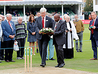 Ceremonial wreath service during the County Championship Division Two game between Kent and Northants at the St Lawrence ground, Canterbury, on Sept 4, 2018.