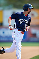 Reading Fightin Phils second baseman Brandon Bednar (19) runs the bases after hitting a home run in the bottom of the fifth inning during the first game of a doubleheader against the Portland Sea Dogs on May 15, 2018 at FirstEnergy Stadium in Reading, Pennsylvania.  Portland defeated Reading 8-4.  (Mike Janes/Four Seam Images)