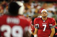 Aug. 28, 2009; Glendale, AZ, USA; Arizona Cardinals quarterback (7) Matt Leinart against the Green Bay Packers during a preseason game at University of Phoenix Stadium. Mandatory Credit: Mark J. Rebilas-