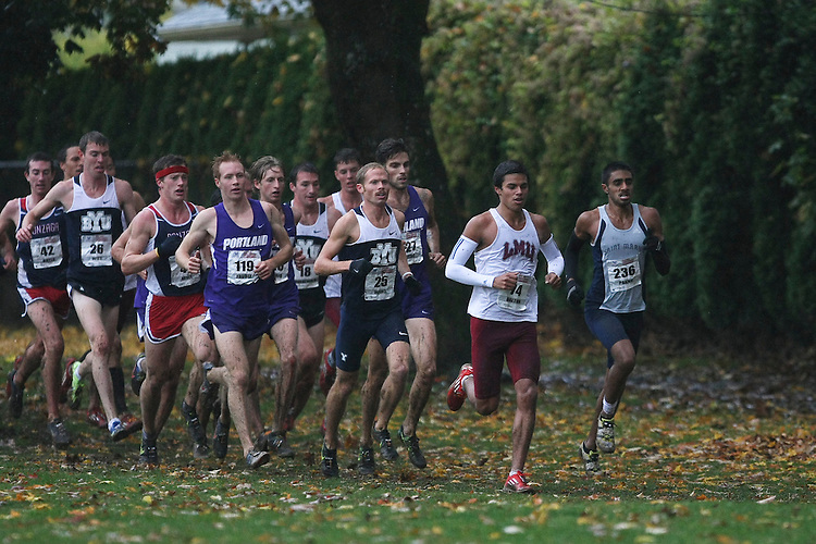 October 27, 2012; Portland, OR, USA; Loyola Marymount Lions runner Drew Dalton (74) Saint Mary's Gaels runner Rajpaul Pannu (236), BYU Cougars runner Jared Ward (25) Portland Pilots runner Scott Fauble (119) during the WCC Cross Country Championships at Fernhill Park.