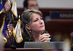 Nevada Sen. Allison Copening, D-Las Vegas, works on the Senate floor Wednesday, May 25, 2011, at the Legislature in Carson City, Nev. .Photo by Cathleen Allison