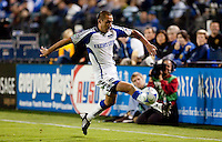 Davy Arnaud extends to control the ball. The San Jose Earthquakes defeated the Kansas City Wizards in stoppage time 1-0 at Buck Shaw Stadium in Santa Clara, California on August 22, 2009.