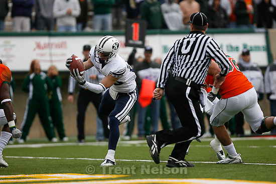 Trent Nelson  |  The Salt Lake Tribune.BYU receiver Luke Ashworth (29) scores a first half touchdown. BYU vs. Colorado State, college football, Saturday, November 13, 2010.