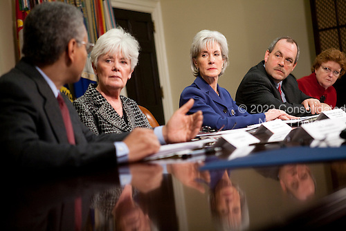 United States Secretary of Health and Human Services (HHS) Kathleen Sebelius, center, meets with insurance company executives and officials including Ronald A. Williams, president and chief executive officer of Aetna, Sandy Praeger, Kansas Insurance Department commissioner, Joel Ario, Pennsylvania insurance commissioner, and Jane L. Cline, West Virginia insurance commissioner, from left, at the White House in Washington, D.C., U.S., on Thursday, March 4, 2010..Credit: Brendan Hoffman / Pool via CNP