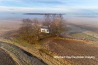 63895-16718 Pleasant Grove Methodist Church at sunrise in fog-aerial-Marion Co. IL