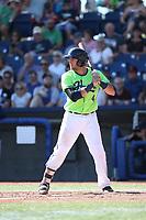 Tim Susanna (4) of the Hillsboro Hops bats during a game against the Spokane Indians at Ron Tonkin Field on July 23, 2017 in Hillsboro, Oregon. Spokane defeated Hillsboro, 5-3. (Larry Goren/Four Seam Images)