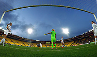 New Zealand goalkeeper Erin Nayler directs defenders during the international women's football match between the New Zealand Football Ferns and Japan at Westpac Stadium in Wellington, New Zealand on Sunday, 10 May 2018. Photo: Dave Lintott / lintottphoto.co.nz