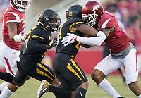 Hawgs Illustrated/BEN GOFF <br /> Santos Ramirez (right), Arkansas strong safety, tackles Ish Witter, Missouri running back, in the third quarter Friday, Nov. 24, 2017, at Reynolds Razorback Stadium in Fayetteville.