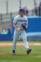 Florida Gators relief pitcher Tyler Dyson (18) pumps his fists after getting the final out of the eighth inning against the Wake Forest Demon Deacons in the completion of Game Two of the Gainesville Super Regional of the 2017 College World Series at Alfred McKethan Stadium at Perry Field on June 12, 2017 in Gainesville, Florida. The Demon Deacons walked off the Gators 8-6 in 11 innings. (Brian Westerholt/Four Seam Images)