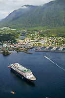 Aerial view of the Southeast Alaska coastal town of Sitka, located on Baranoff Island, Inside passage.