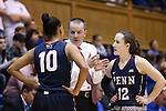13 November 2016: Penn head coach Mike McLaughlin (center) talks to Anna Ross (10) and Kasey Chambers (12). The Duke University Blue Devils hosted the University of Pennsylvania Quakers at Cameron Indoor Stadium in Durham, North Carolina in a 2016-17 NCAA Division I Women's Basketball game. Duke defeated Penn 68-55.