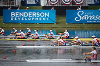 Sarasota. Florida USA.  Race for the line as the women's four close in on the finish line,  USA W4-, Bow.Molly BRUGGEMAN, Kristine O'BRIEN, Erin REELICK and Kendall CHASE Final A.at the  2017 World Rowing Championships, Nathan Benderson Park<br /> <br /> Saturday  30.09.17   <br /> <br /> [Mandatory Credit. Peter SPURRIER/Intersport Images].<br /> <br /> <br /> NIKON CORPORATION -  NIKON D4S  lens  VR 500mm f/4G IF-ED mm. 200 ISO 1/2500/sec. f 4