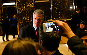 Former United States Senator Scott Brown (Republican of Massachusetts) speaks to journalists after meeting with US President-elect Donald Trump, November 21, 2016, at the Trump Tower in New York, New York.<br /> Credit: Aude Guerrucci / Pool via CNP