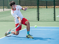 STAFF PHOTO ANTHONY REYES &bull; @NWATONYR<br /> Tony Kopek, Springdale freshman, returns a volley during the 7A-West Conference girls and boys tennis tournament Wednesday, Oct. 8, 2014 at the Springdale Har-Ber tennis courts.