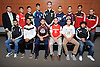 The 2015 Newsday All-Long Island boys' soccer team poses for a group picture at company headquarters on Monday, Dec. 7, 2015. Appearing are, FRONT ROW, FROM LEFT: Roberto Ventura - Brentwood, Jesse Scanlon - Southampton, Witman Hernandez - Whitman, Matt Vowinkel - Chaminade, Peter Meyer - Massapequa and Jefferson Portillo - Brentwood. BACK ROW, FROM LEFT: Coach Scott Starkey - Hicksville, Kevin Lee - Chaminade, Ryan Goncalves - St. Anthony's, Josh Levine - Chaminade, Ryan Sinnott - Commack, David Geyer - Plainview JFK, Michael Lorello - Whitman, Josue Martinez - Amityville and Coach Mike Abbondondolo - Amityville.