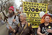 Veteran anti-nuclear campaigner Pat Arrowsmith and other CND marchers approach the Atomic Weapons Establishment (AWE) at Aldermaston on Easter Monday, four days after leaving Trafalgar Square in central London.