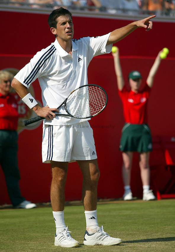 Photograph: Scott Heavey..Day 6 of the Stella Artois Championship at the Queens Club. 14/06/2003..Tim Henman