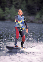 Young boy surf skiing, Big Island