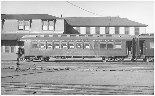 Right side view of parlor car &quot;Salida&quot; in front of Monte Cristo Hotel.<br /> D&amp;RGW  Salida, CO
