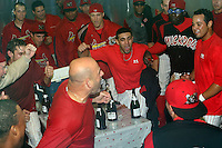 September 7 2008:  The Batavia Muckdogs, Class-A affiliate of the St. Louis Cardinals, celebrate winning the Pinckney Division after a game at Dwyer Stadium in Batavia, NY.  Photo by:  Mike Janes/Four Seam Images
