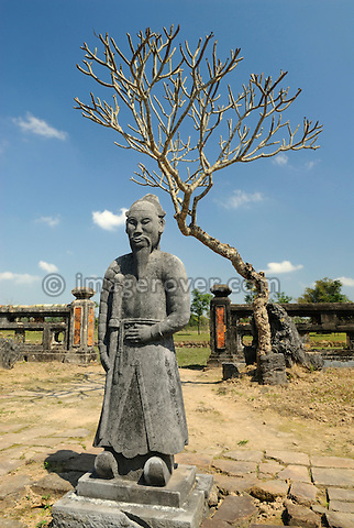 Asia, Vietnam, Hue. Statue at the royal tomb of Thieu Tri. Designated a UNESCO World Heritage Site in 1993, Hue is honoured for its complex of historic monuments. Emperor Thieu Tri, the son of Minh Mang, reigned just seven years and did not have the opportunity to build his own tomb during his lifetime. His son, Tu Duc, built this permanent tomb Lang Thieu Tri in 1848. Today, the tomb is an extremely tranquil and quiet place.