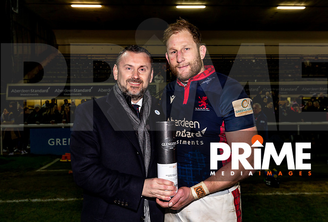 Man of the match Mark Bright during the Greene King IPA Championship match between London Scottish and Ealing Trailfinders at Richmond Athletic Ground, Richmond, United Kingdom on 24 January 2020. Photo by Liam McAvoy.