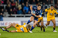 8th November 2019; AJ Bell Stadium, Salford, Lancashire, England; English Premiership Rugby, Sale Sharks versus Coventry Wasps; Tommy Taylor of Wasps misses a tackle on Rohan Janse van Rensburg of Sale Sharks - Editorial Use