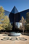 November 05, 2009. Cary, North Carolina.. SAS, the largest private software company, makes a product called business intelligence or business optimization software, that looks for usable nuggets of information and insights in vast quantities of data. As the market for these types of products grows, SAS faces competition from some of the giants in the industry, such as Microsoft and IBM. The company differs from most in that it also provides many services for its employees, such as primary care doctors, daycare and a gym.  .Building U.