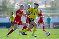 20200307  Lagos , Portugal : Danish forward Stine Larsen (12) , Swedish Emma Kullberg (5) pictured during the female football game between the national teams of Sweden and Denmark on the second matchday of the Algarve Cup 2020 , a prestigious friendly womensoccer tournament in Portugal , on saturday 7 th March 2020 in Lagos , Portugal . PHOTO SPORTPIX.BE | STIJN AUDOOREN