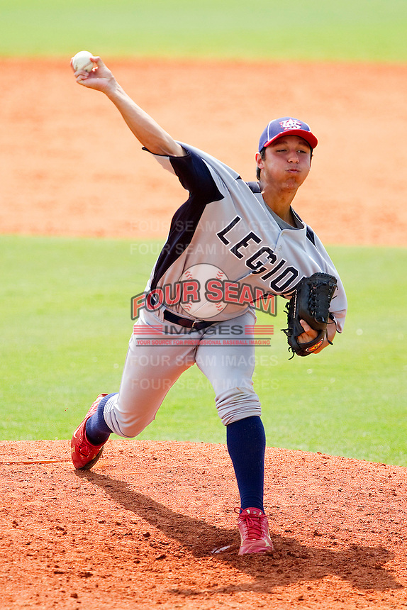 Zachary Quintana #8 of American Legion in action against NABF at the 2011 Tournament of Stars at the USA Baseball National Training Center on June 26, 2011 in Cary, North Carolina.  NABF defeated American Legion 5-0. (Brian Westerholt/Four Seam Images)