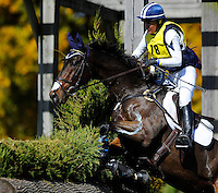Inmidair, with rider Jan Byyny  (USA), competes during the Cross Country test during the Fair Hill International at Fair Hill Natural Resources Area in Fair Hill, Maryland on October 20, 2012.