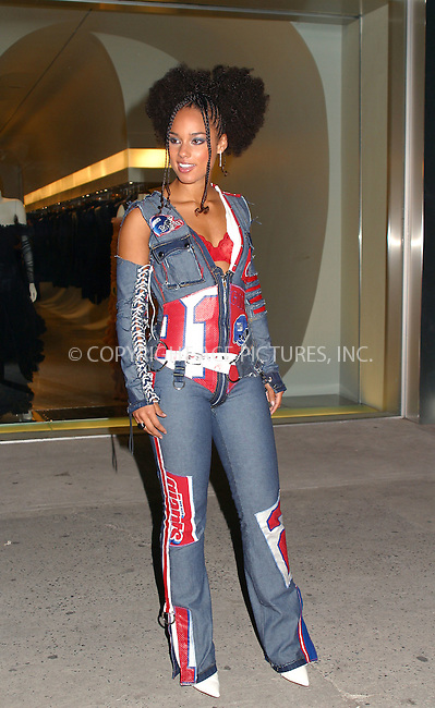 Alicia Keys at Alexander McQueen New York store opening in New York's Meatpacking District. September 5, 2002. Please byline: Alecsey Boldeskul/NY Photo Press.   ..*PAY-PER-USE*      ....NY Photo Press:  ..phone (646) 267-6913;   ..e-mail: info@nyphotopress.com