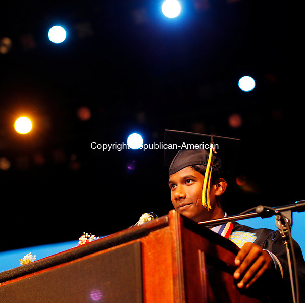 Waterbury, CT-16, June 2010-061610CM03 Kaynor Tech Valedictorian, Jerry Sooklall addresses fellow graduates and family during commencement at the Palace Theater in Waterbury Wednesday night.  --Christopher Massa Republican-American