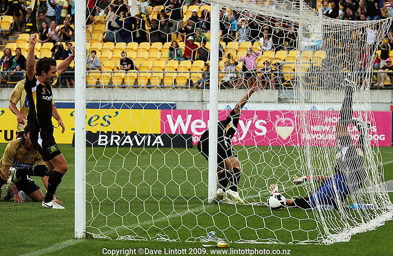 Phoenix captain Tim Brown celebrates as Leo Bertos scores the first goal during the A-League match between Wellington Phoenix and Newcastle Jets at Westpac Stadium, Wellington, New Zealand on Sunday, 4 January 2009. Photo: Dave Lintott / lintottphoto.co.nz