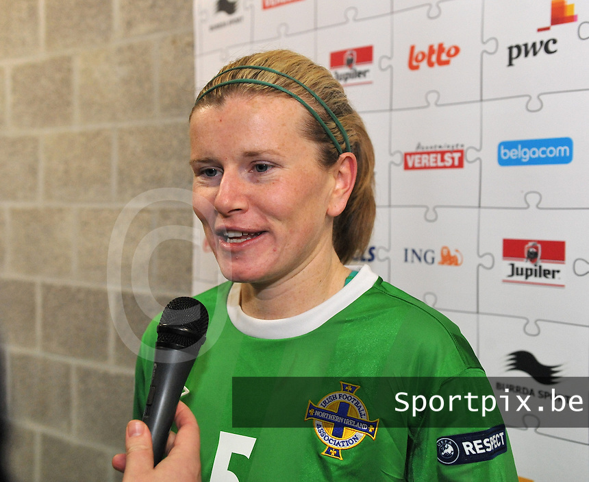 UEFA Women's Euro Qualifying group stage (Group 3) -  KFC Dessel - Armand Melis Stadion : BELGIUM -Northern Ireland ( Belgie - Noord Ierland ) : Julie Nelson..foto DAVID CATRY / Vrouwenteam.be / Loft6.be